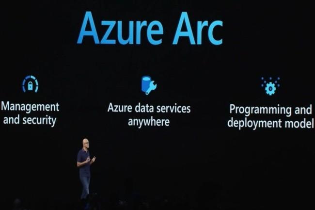 Satya Nadella, CEO de Microsoft, a présenté Azure Arc un ensemble d'outils pour gérer et déployer des services sur d'autres fournisseurs de cloud. (Crédit Photo : DR)