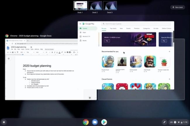 Avec Chrome OS 78, Google apporte des bureaux virtuels, du click to call et un support rallongé. (Crédit Photo : DR)