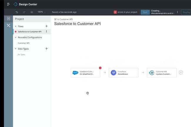 Pas encore intégré à Salesforce, le Flow Designer de Mulesoft permet de créer et automatiser une intégration d'application sans avoir à coder. (Crédit : Mulesoft)