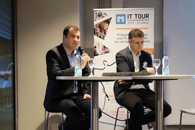 Cristian Preda, chercheur au sein de l'Equipe-Projet Modal de l'Inria et Nacim Ihaddadene, enseignant chercheur à l'Isen Lille en plateau sur l'IT Tour 2019 à Lille pour évoquer les enjeux métiers autour de l'IA. (crédit : LMI)