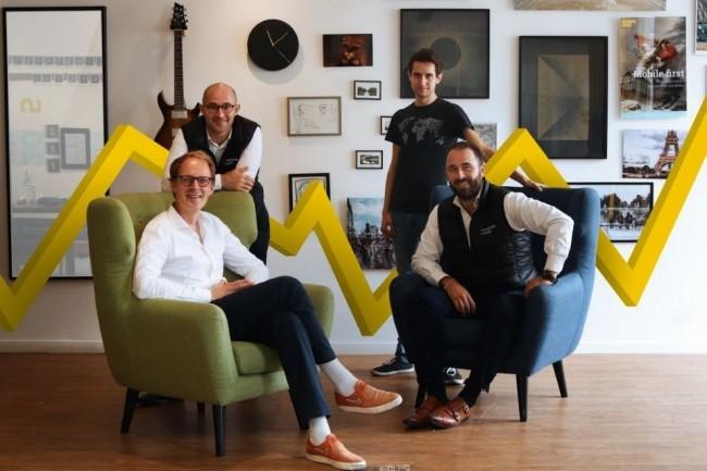 Quatre fondateurs sont à l'origine de Toucan Toco : de gauche à droite, Kilian Bazin, directeur général, Charles Miglietti, président, David Nowinsky, directeur technique, et Baptiste Jourdan, directeur commercial. (Crédit : Toucan Toco)