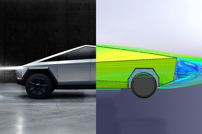 L'ingénieur qui a modélisé le Cybertruck par logiciel s'est appuyé sur les photos et vidéos du véhicule. La visualisation est donc approximative. (Crédit : Tesla / JustinWMartin14)