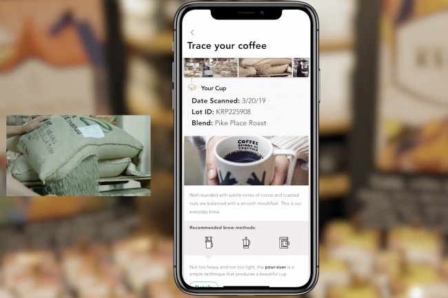 L'app de suivi mobile « Bean to cup » développée conjointement par Starbucks et Microsoft permettra aux clients de savoir où a été cultivé le café qu'ils sont en train de boire et de connaitre le trajet qu'il a suivi avant d'arriver dans leur tasse. (Crédit : Starbucks)