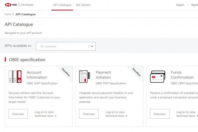 HSBC veut fournir aux développeurs un catalogue d'API, mais aussi des certificats de test, des identifiants pour l'authentification, un environnement sandbox complet avec des données de production réalistes... (crédit : HSBC)
