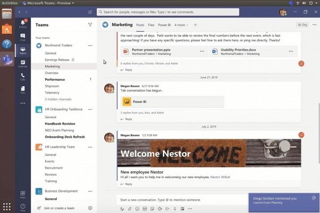 Dans les entreprises gérant différents environnements sur les postes de travail, Teams sur Linux permet de collaborer avec les utilisateurs de Teams sur Windows. (Crédit : Microsoft)