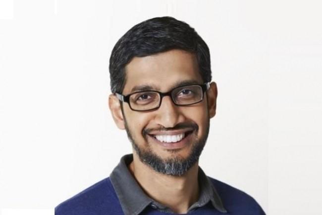 Sundar Pichai (ci-dessus), CEO de Google et désormais d'Alphabet aussi, et Ruth Porat, directrice financière d'Alphabet, auraient convaincu Larry Page de ne pas sortir du marché cloud. (Crédit Photo : Google)