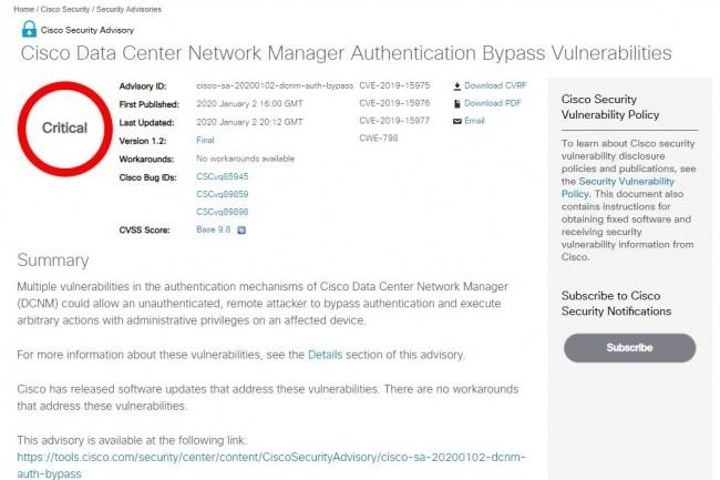 Avis de sécurité critiques pour Data Center Network Manager de Cisco.