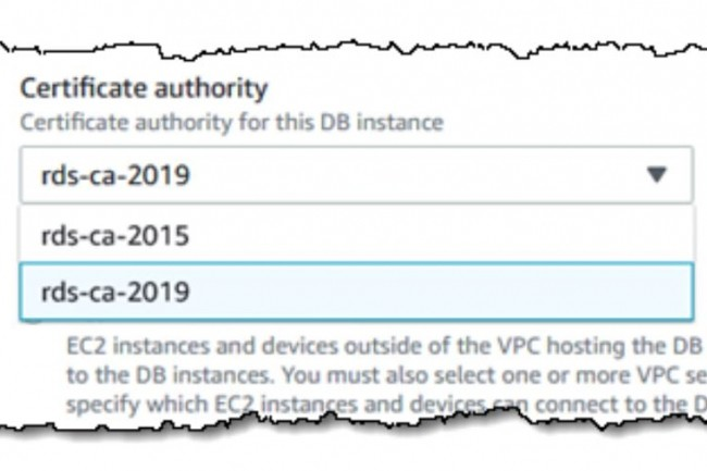 Le changement de certificat SSL/TLS, ici pour une instance RDS, est poussé par AWS tous les 5 ans. (crédit : D.R.)