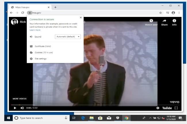 Un chercheur a publié une vidéo sur un navigateur avec l'adresse de la NSA en utilisant la faille dans Crypto32 API (Crédit Photo : DR)