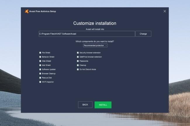 Avast propose un grand nombre de modules optionnels à installer avec son logiciel de sécurité gratuit. (Crédit : Avast)