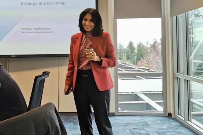 Purnima Padmanabhan, vice-présidente en charge des produits Cloud Management s'est ainsi faite la porte-parole des bouleversements à venir chez VMware avec l'adoption de Kubernetes. (Crédit S.L.)