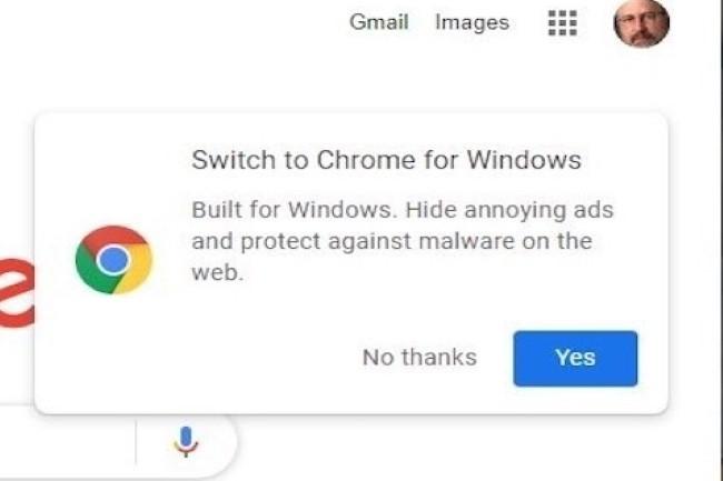 Google lance des messages de diffusion à destination des utilisateurs de Edge pour passer par Chrome. (Crédit Photo : IDG)