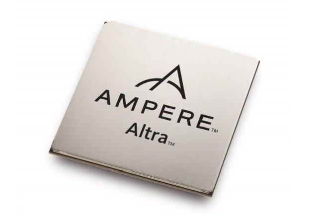 Si Ampere met en avant les performances de son Altra 80 coeurs, la start-up ne communique pas la fréquence de base de sa puce ARM. (Crédit Ampere)