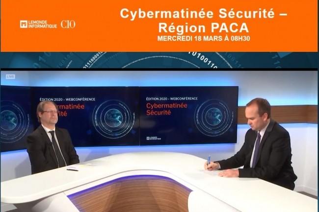 Jacques Cheminat et Dominique Filipone pour la première émission LMI TV remplaçant notre Cybermatinée Sécurité d'Aix en Provence.