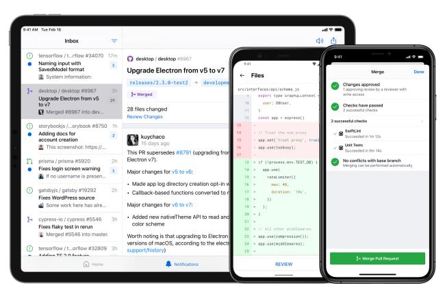 L'application mobile GitHub est disponible pour tous sur iOS et Android. (Crédit Photo: GitHub)