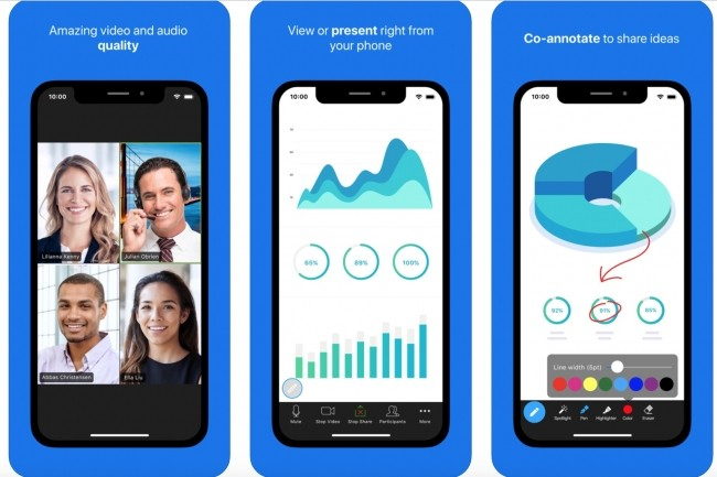 Zoom Cloud Meetings fait partie du trio d'apps mobiles professionnelles les plus téléchargées en Chine et en Italie ces dernières semaines. (Crédit : Zoom)