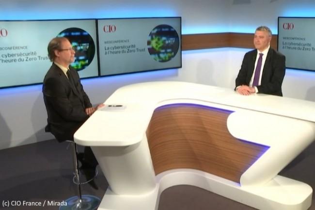 La CIO.expériences « La cybersécurité à l'heure du Zero Trust » vous a été proposée sous forme de webconférence, avec Jacques Cheminat (rédacteur en chef adjoint du Monde Informatique, à gauche) et Bertrand Lemaire (rédacteur en chef de CIO).