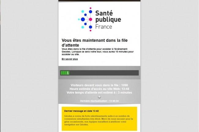 Une file d'attente pour accéder au site web de Santé Publique France : encore un bel exemple de transformation digitale à la française.