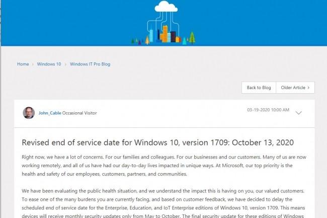 Fin des mises à jour mensuelles, hors sécurité, pour Windows