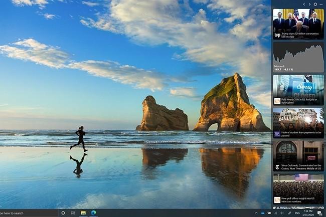 La News Bar de Microsoft peut être configurée de plusieurs manières, pour être affichée différemment ou apparaître selon des options prédéfinies. (Crédit : Microsoft)