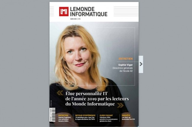 En couverture Sophie Viger, la directrice g�n�rale de l��cole 42 �lue personnalit� IT de l�ann�e 2019 par les lecteurs du Monde Informatique.