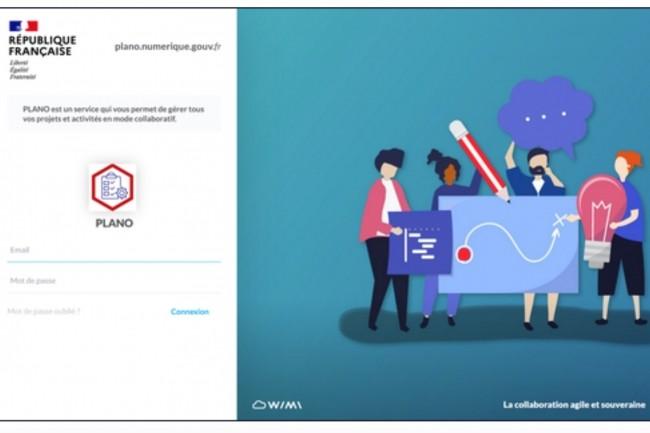 La gestion de projets Plano s'appuiesur la solution Wimi de l'éditeur Cloud solutions,hébergée en France par Scaleway. (Crédit : Dinum)