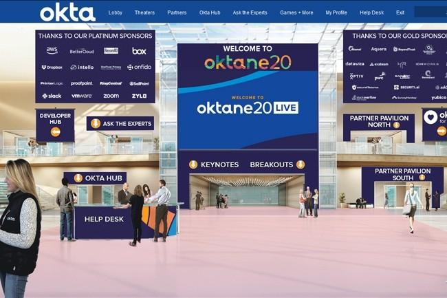 Capture d'écran de la plateforme développée par Okta pour son événement annuel en mode téléconférence. (Crédit : Okta)