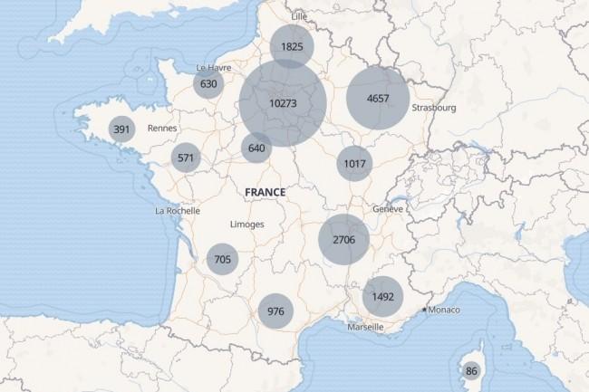 Carte des hospitalisations des malades Covid-19 en France au 2 avril 2020. (crédit : Santé publique France/Etalab/OpenMapTiles/OpenStreetMap)