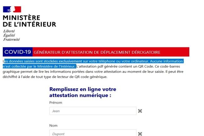 Le formulaire d'attestation de déplacement pour générer le QR code sur smartphone est disponible. (Crédit Photo : ministère de l'Intérieur)