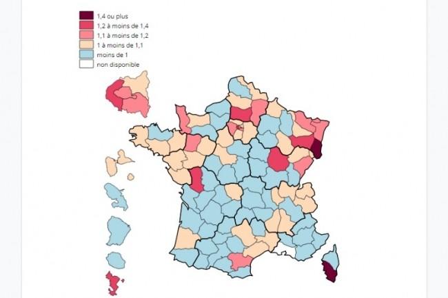 La comparaison du nombre total de décès du 1er au 23 mars 2020 par Covid-19 publiée par l'INSEE ne prend pour l'instant pas en compte le département des Bouches-du-Rhône. (crédit : INSEE)