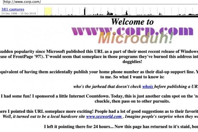 L'URL corp.com déposée par Mike O'Connor en 1994 n'a jamais vraiment été utilisé sauf pour se moquer de Microsoft et redirigeait à l'époque les internautes vers des sites pour adultes. (crédit : D.R.)