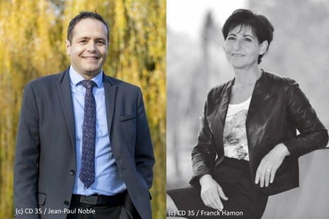 Mona Izabelle, Déléguée générale à la transformation, et Benoît Moraillon, Directeur des systèmes numériques du département d'Ille-et-Vilaine, ont mis en place un protocole strict pour une remise des postes sécurisée contre toute contamination.