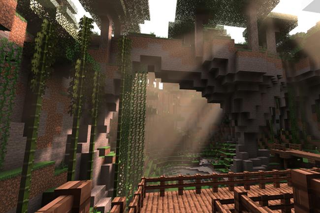 Grâce aux effets du ray-tracing, les bâtiments et paysages de Minecraft sont transformés. (Crédit Nvidia)
