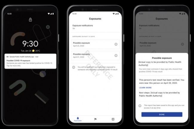 Ebauche d'écran de notification d'entrée en contact avec un malade Covid-19 sur terminal Android. (crédit : Apple/Google)