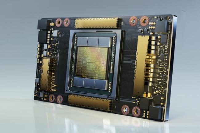 Avec ses 54 milliards de transistors, la puce A100 fournit plus d'une opération Peta par seconde selon Nvidia. (Crédit Nvidia)