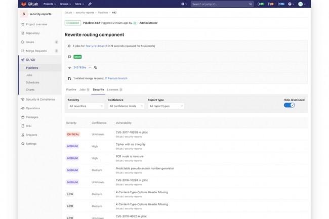 Le tableau de bord de sécurité de GitLab fournit une vue sur les vulnérabilités au sein des groupes, des projets et des pipelines. En version 13.0, les vulnérabilités peuvent être exportées. (Crédit : GitLab)