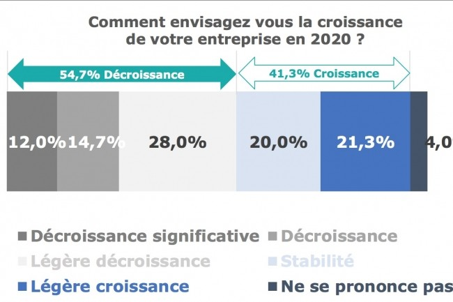 Même si elles sont minoritaires, 41,3% desentreprises françaises du logiciel ayant répondu à l'enquête comptent tout de même sur une stabilité de leur activité ou une croissance en 2020.(Crédit : In Extenso F&T)