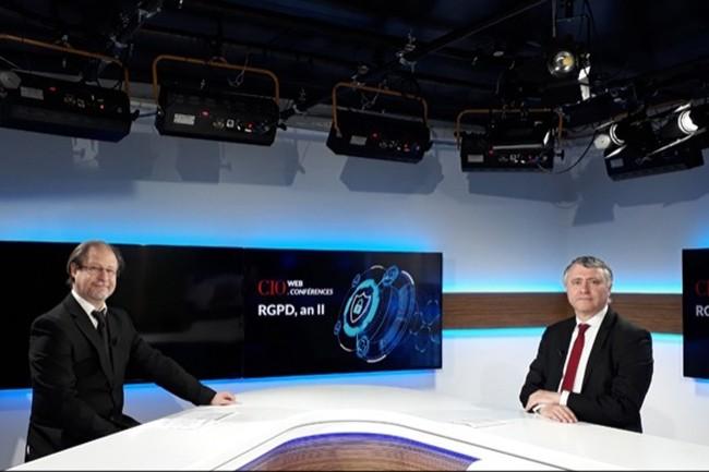 La webconférence RGPD An II a été diffusée le 28 Mai 2020, présentée par Jacques Cheminat (Rédacteur en chef adjoint du Monde Informatique, à gauche) et Bertrand Lemaire (Rédacteur en chef de CIO, à droite).