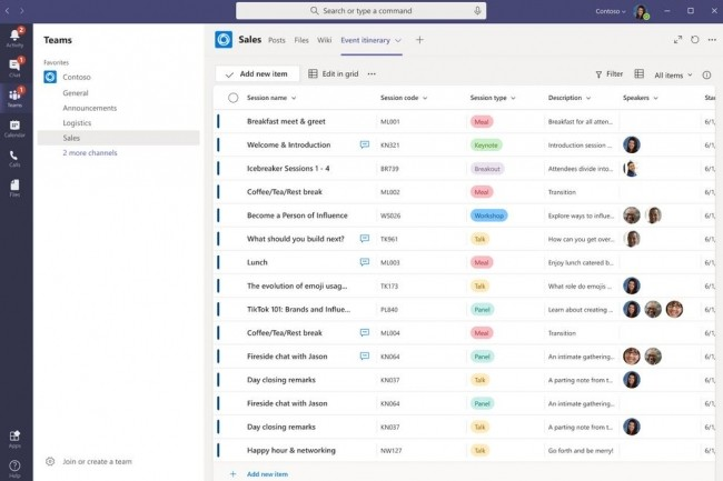 La gestion des listes fait son apparition dans la dernière version de Microsoft Teams (Mai 2020). (crédit : Microsoft)