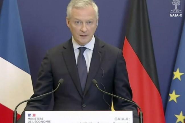 Bruno Le Maire, ministre français de l'Economie et des Finances, avec Peter Altmaier, ministre fédéral allemand de l'Économie et de l'Énergie, a présenté les grandes lignes du projet Gaia-X ce jeudi 4 juin 2020. (crédit : D.R.)