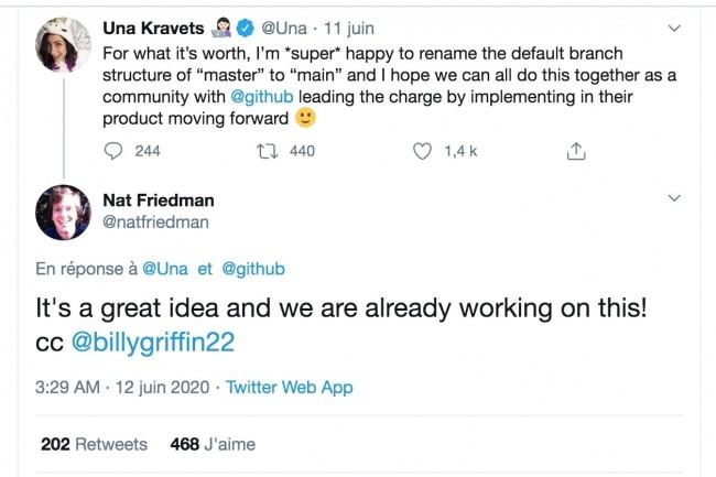 Un �change de tweets entre Una Kravets, du projet Chrome, et Nat Friedman, CEO de GitHub, aborde la n�cessit� de d�barrasser�le r�f�rentiel de code d'un vocabulaire d�plac�. (Cr�dit : D.R.)
