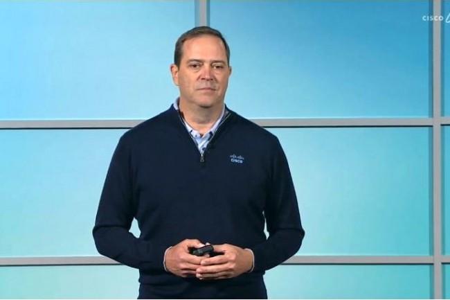 Chuck Robbins, CEO de Cisco, lors d'un point presse en ligne Cisco Live le 16 juin 2020. ( Crédit S.L.)