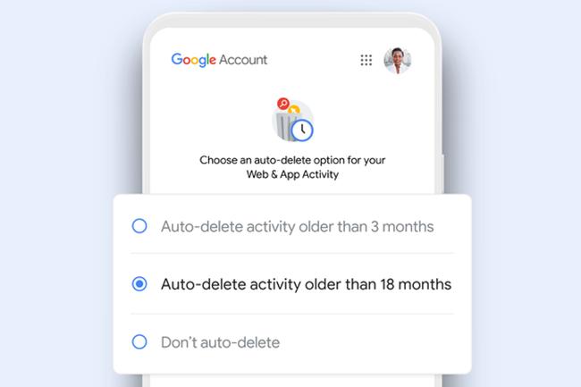 Sur son compte Google, il est désormais possible de choisir de supprimer ses meta-données automatiquement au bout de 3 ou 18 mois. (Crédit : Google)