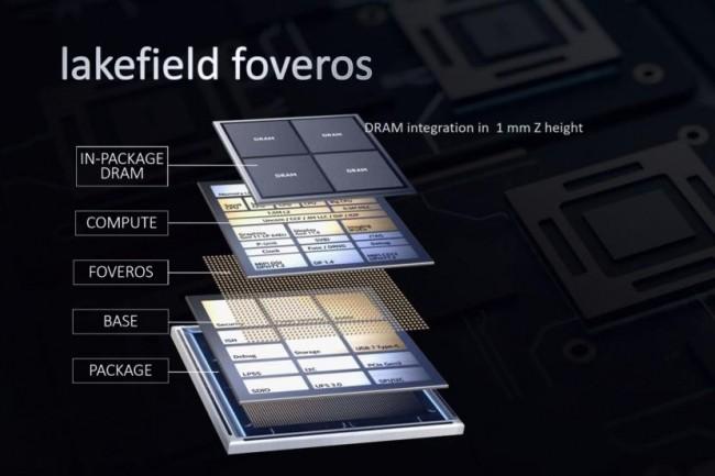 Avec ses puces SoC Lakefield, Intel prend la voie des architectures hybrides. (Crédit IDG)