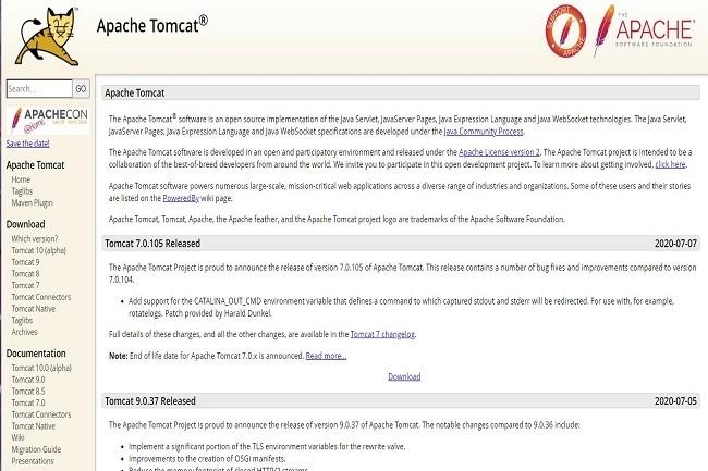 Une capture d'écran de la page d'accueildeTomcat. (Crédit: Matthew Tyson)