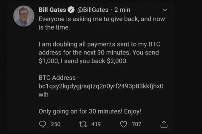 Même en paraissant invraisemblable, le faux tweet de Bill Gates dont le compte Twitter a été piraté pendant quelques heures, a permis à des cyberpirates d'exploiter aussi bien la crédulité que le porte-monnaie de nombreux twittos. (crédit : D.R.)