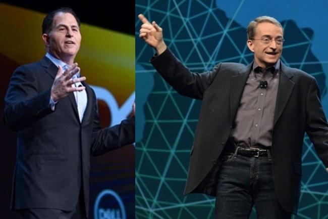 M�me si rien n'est encore act�, les vell�it�s d'ind�pendance de VMware pourraient devenir r�alit� alors que Michael Dell (� gauche) envisage un spin-off avec sa filiale dirig�e par Pat Gelsinger. (Cr�dit : Dell / Vmware)