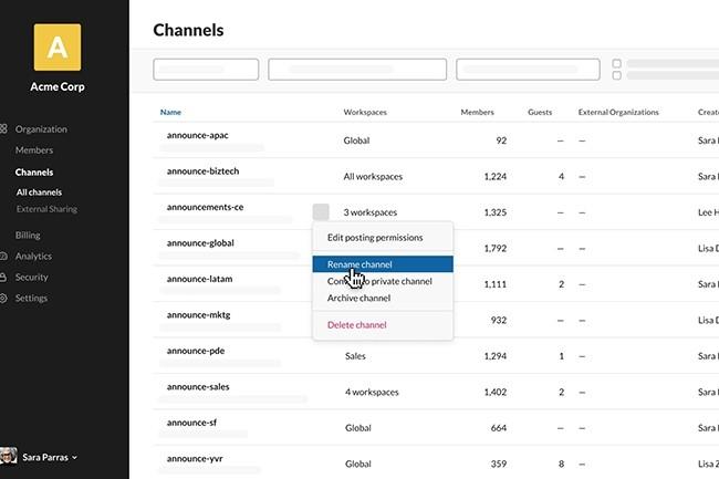 Un tableau de bord a aussi été développé par Slack pour gérer toutes les chaînes d'un compte depuis un même écran. (Crédit : Slack)