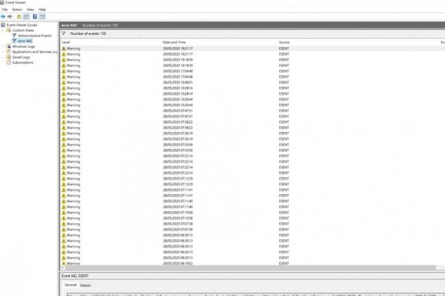 Les plaintes relatives aux dysfonctionnements causés par le bug ESENT 642 se multiplient depuis la dernière mise à jour 2004 de Windows 10. (crédit : D.R.)