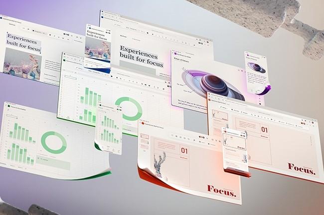 Microsoft a introduit les prochaines évolutions du design de ses applications bureautiques lors de sa conférence Inspire. (Crédit : Microsoft)